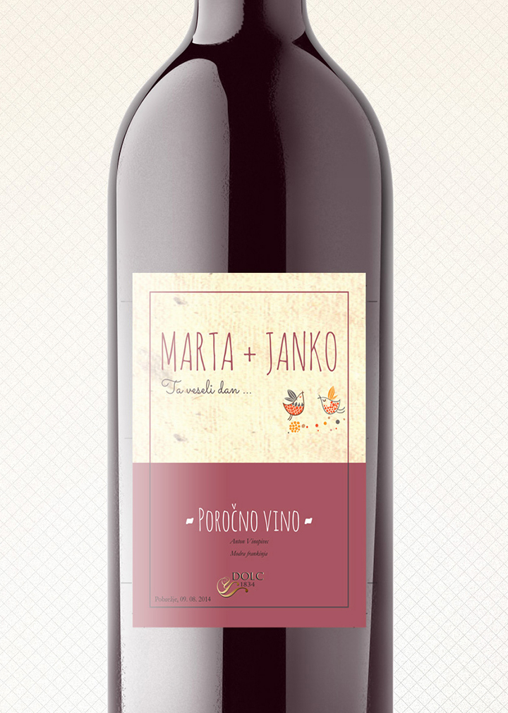 Poročno vino / Wedding wine design