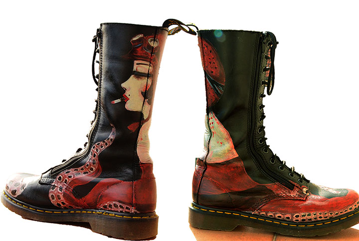 Handpainted leather Dr Martens